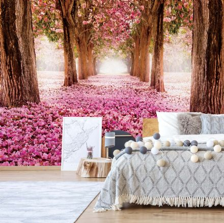 L Pink trees & patch wall mural